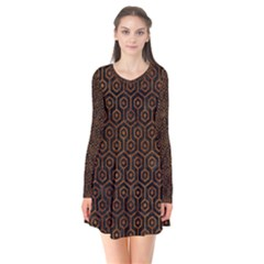 Hexagon1 Black Marble & Brown Marble Long Sleeve V Neck Flare Dress