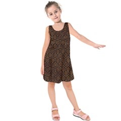 Hexagon1 Black Marble & Brown Marble Kids  Sleeveless Dress