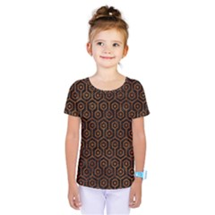 Hexagon1 Black Marble & Brown Marble Kids  One Piece Tee