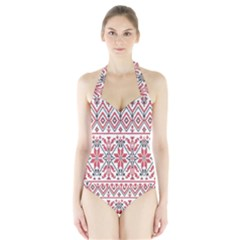 Consecutive Knitting Patterns Vector Background Halter Swimsuit
