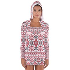 Consecutive Knitting Patterns Vector Background Women s Long Sleeve Hooded T Shirt