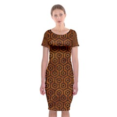Hexagon1 Black Marble & Brown Marble (r) Classic Short Sleeve Midi Dress