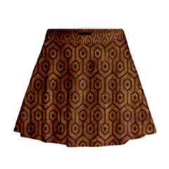 Hexagon1 Black Marble & Brown Marble (r) Mini Flare Skirt