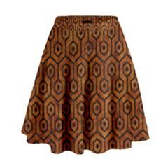Hexagon1 Black Marble & Brown Marble (r) High Waist Skirt