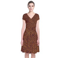 Hexagon1 Black Marble & Brown Marble (r) Short Sleeve Front Wrap Dress