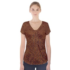 Hexagon1 Black Marble & Brown Marble (r) Short Sleeve Front Detail Top