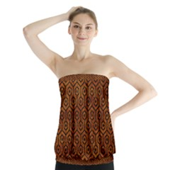 Hexagon1 Black Marble & Brown Marble (r) Strapless Top
