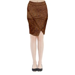 Hexagon1 Black Marble & Brown Marble (r) Midi Wrap Pencil Skirt