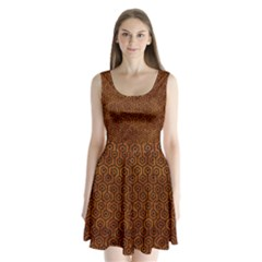 Hexagon1 Black Marble & Brown Marble (r) Split Back Mini Dress