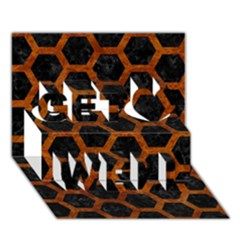 Hexagon2 Black Marble & Brown Marble Get Well 3d Greeting Card (7x5)