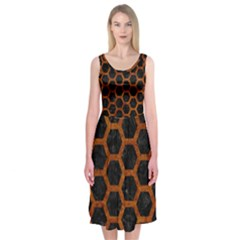 Hexagon2 Black Marble & Brown Marble Midi Sleeveless Dress