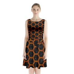 Hexagon2 Black Marble & Brown Marble Sleeveless Waist Tie Chiffon Dress