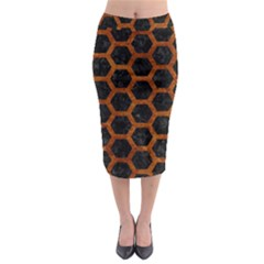 Hexagon2 Black Marble & Brown Marble Midi Pencil Skirt