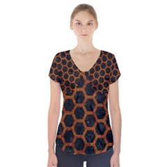Hexagon2 Black Marble & Brown Marble Short Sleeve Front Detail Top