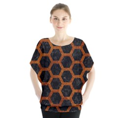 Hexagon2 Black Marble & Brown Marble Batwing Chiffon Blouse