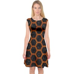 Hexagon2 Black Marble & Brown Marble Capsleeve Midi Dress