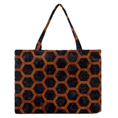 Hexagon2 Black Marble & Brown Marble Medium Zipper Tote Bag