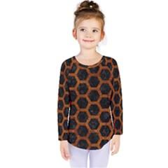 Hexagon2 Black Marble & Brown Marble Kids  Long Sleeve Tee
