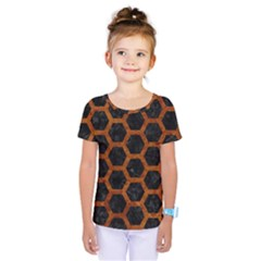 Hexagon2 Black Marble & Brown Marble Kids  One Piece Tee
