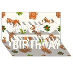 Cute Christmas Seamless Pattern  Happy Birthday 3d Greeting Card (8x4)