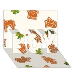 Cute Christmas Seamless Pattern  Boy 3d Greeting Card (7x5)