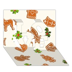 Cute Christmas Seamless Pattern  Love 3d Greeting Card (7x5)