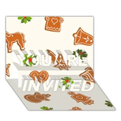 Cute Christmas Seamless Pattern  You Are Invited 3d Greeting Card (7x5)