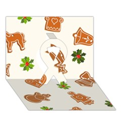Cute Christmas Seamless Pattern  Ribbon 3d Greeting Card (7x5)