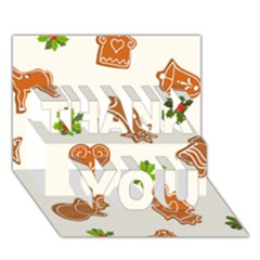 Cute Christmas Seamless Pattern  Thank You 3d Greeting Card (7x5)