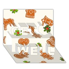 Cute Christmas Seamless Pattern  Get Well 3d Greeting Card (7x5)