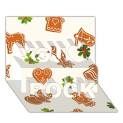 Cute Christmas Seamless Pattern  You Rock 3d Greeting Card (7x5)