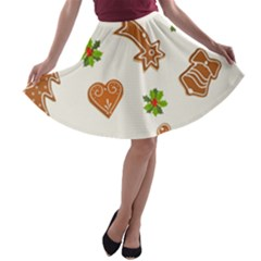 Cute Christmas Seamless Pattern  A Line Skater Skirt