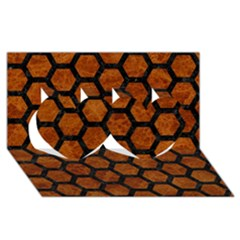 Hexagon2 Black Marble & Brown Marble (r) Twin Hearts 3d Greeting Card (8x4)