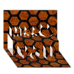 Hexagon2 Black Marble & Brown Marble (r) Miss You 3d Greeting Card (7x5)