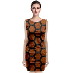 Hexagon2 Black Marble & Brown Marble (r) Classic Sleeveless Midi Dress