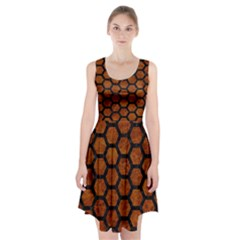 Hexagon2 Black Marble & Brown Marble (r) Racerback Midi Dress