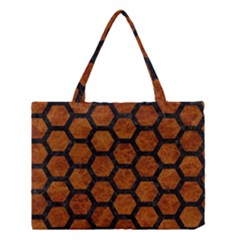 Hexagon2 Black Marble & Brown Marble (r) Medium Tote Bag
