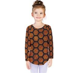 Hexagon2 Black Marble & Brown Marble (r) Kids  Long Sleeve Tee