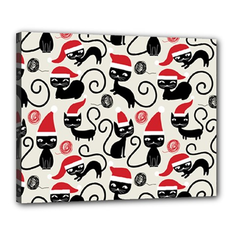 Cute Cat Christmas Seamless Pattern Vector  Canvas 20  X 16