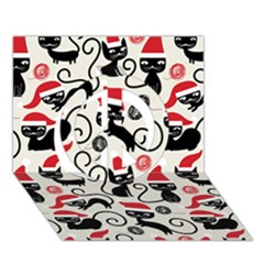 Cute Cat Christmas Seamless Pattern Vector  Peace Sign 3d Greeting Card (7x5)
