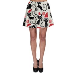 Cute Cat Christmas Seamless Pattern Vector  Skater Skirt