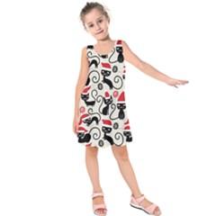 Cute Cat Christmas Seamless Pattern Vector  Kids  Sleeveless Dress