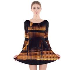 Houses Of Parliament Long Sleeve Velvet Skater Dress