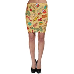 Cute Christmas Seamless Pattern Vector Bodycon Skirt