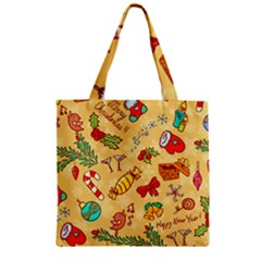 Cute Christmas Seamless Pattern Vector Zipper Grocery Tote Bag