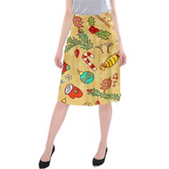 Cute Christmas Seamless Pattern Vector Midi Beach Skirt