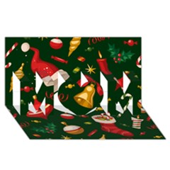 Cute Christmas Seamless Pattern Mom 3d Greeting Card (8x4)