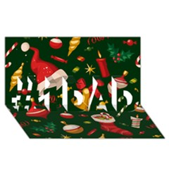 Cute Christmas Seamless Pattern #1 Dad 3d Greeting Card (8x4)