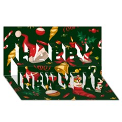 Cute Christmas Seamless Pattern Happy New Year 3d Greeting Card (8x4)