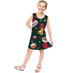 Cute Christmas Seamless Pattern Kids  Tunic Dress